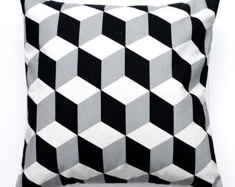 Scandinavian Mono Cushion Cover - Black & White - Home Decor - Decorative Cushion - Pillow Covers - Cubes - Stripes