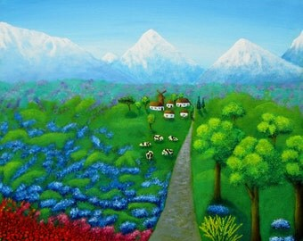 Landscape Painting, Nature Painting, Mountains, Original Painting, Romantic Painting, Original Art, Naive art, Fine art, Acrylic Painting