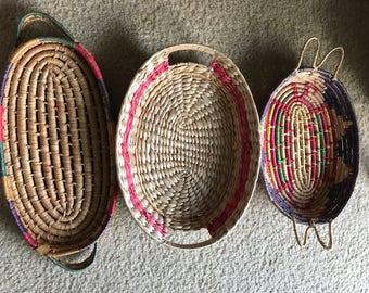 Set of 3 straw colorful wicker/straw  tray baskets