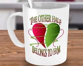 Widow Coffee mug- my husband in heaven mug-widower coffee cup- The Other Half Belongs To Him Mug -gift idea