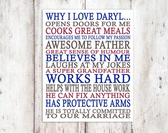 Love - Why I Love My Man - 8x10 digital print - Special Moments to Remember - Personalized Poster - Love My Man - PERSONALIZED