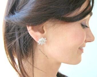 Silver rhinestones earrings, crystal silver stud earrings, bride crystal earrings, bridal rhinestones earrings, swarovski wedding jewelry