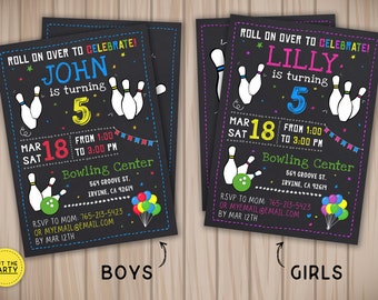 Bowling invitation, Bowling birthday invitation, Bowling chalkboard invitation, Bowling party invitation, Bowling boys and girls invitation