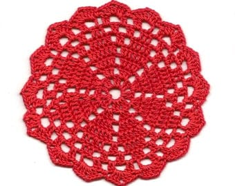 Mini Crochet Doily Lace Doilies Table decoration Crocheted Doily Centerpiece Handmade Wedding Doily Napkin Bohemian Decor Round Red Flower