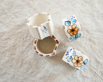Vintage Ceramic Hand Painted Napkin Rings, Set of 4