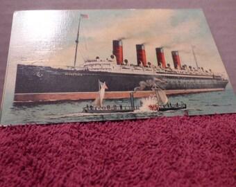 1909 Mauretania ship postcard