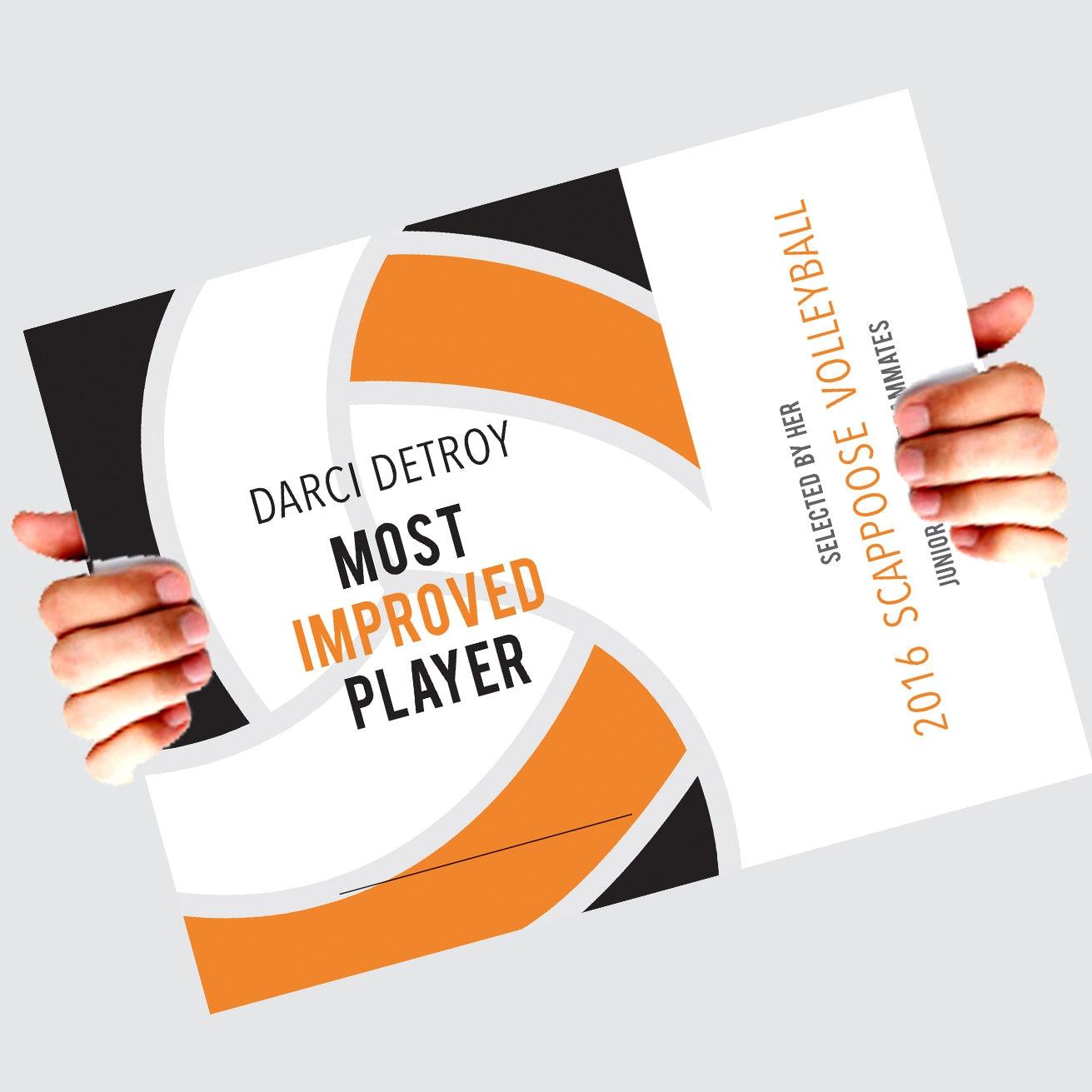 Volleyball Award Award Certificate Award Template Team Award