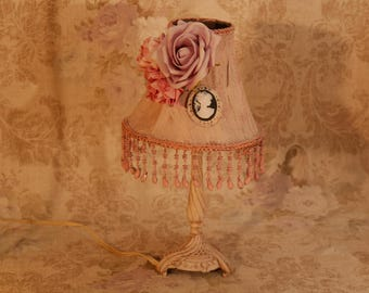 An unique lamp painted to make it look shabbychic. A unique lamp, hand painted on a shabbychic way.