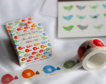 Colorful Birds Washi Tape, Happy Washi Tape, children tape. chicks washi tape. masking tape. decor tape, scrapbooking tape, journal tape