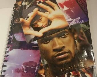Usher notebook, Cool notebook, Large notebook, Blank notebook, creative notebook, fanart, Usher Raymond Notebook