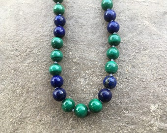 Heal Your Past Life, malachite and lapis lazuli therapeutic crystal gemstone necklace
