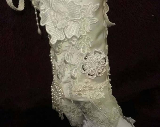 Vintage , victorian style, satin boots, lace boots,fabric boots, calf boots, kneehigh boots, cuff boots, birthday gift, wedding gift