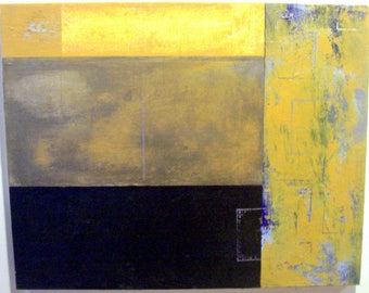 Original Acrylic 'Yellow' textured mixed media Painting 20 x 16  x 3/4 in