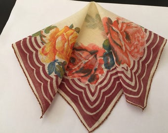 Vintage Handkerchief / Orange Roses, Brown Edges