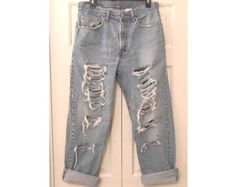 High Waisted Distressed Vintage Levi's Women's W33 L32