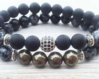 Mens Bracelet Stack Double Beaded Bracelet Set Gifts For Him Bead Bracelet Anniversary Boyfriend Husbands Gifts Fathers Day Gifts Pyrite