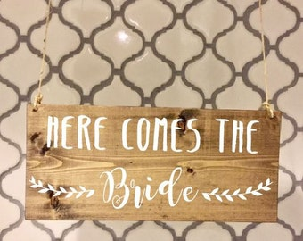 Here comes the Bride/Ring Bearer Sign/Flower Girl Sign/Wedding Entrance/Wedding Ceremony/Wedding Sign/Rustic Wedding