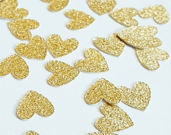 50 pcs Gold Glitter Heart Confetti / Valentine's Day Confetti / Bridal Shower Decorations / Engagement Party Decor / Wedding Decorations