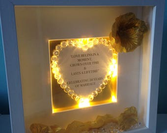 Quirky light up  box frame sign anniversary , love begins in a moment grows up time and lasts a lifetime golden / 50th wedding anniversary