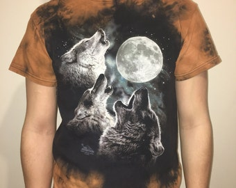 Howling Wolf Pack Bleach Dyed T-Shirt