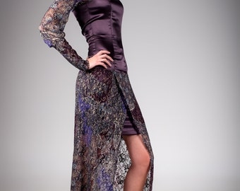 Purple long evening dress