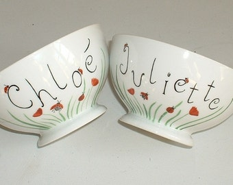 2 bowls personalized in porcelain