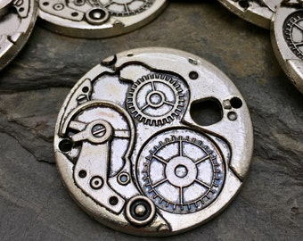 Steampunk Gears Charms - Silver Tone - Double Loop - 5 Available