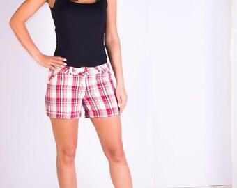 Womans shorts,Checked shorts,Summer shorts,Cotton shorts,Size 8 UK