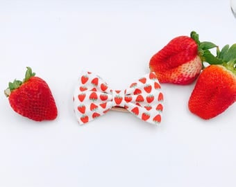 Baby Girl Bow Headband - Nylon Headbands - Hair clip - Infant / Toddler /  Fabric Hair Bows / Clips - mini strawberry / strawberries / fruit