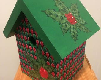 Red and Green fabric Christmas holiday hand painted holly berry birdhouse