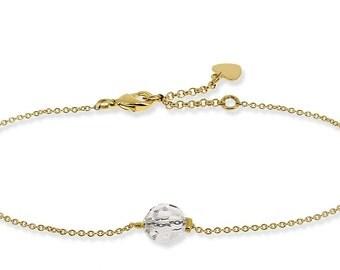 Very thin chain bracelet, bead Swarovski Crystal