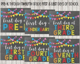 INSTANT DOWNLOAD First and Last Day Of School Printables | All Grades | Pre-K | Kindergarten | School