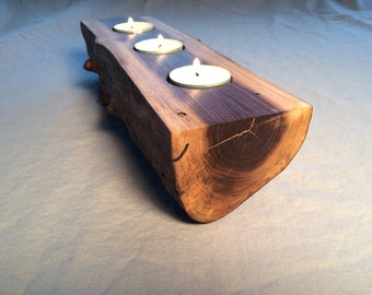 Candle holder for 3 candles, rustic, black walnut, live edge (#6)