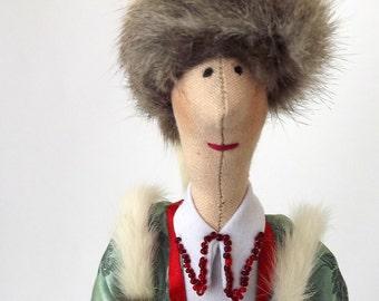 russian folk doll collectable doll Tilda decor Art Cloth