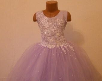 Purple flower girl dress for little princesses!delicate purple lace flower girl dress -Birthday Celebration Wedding Bride tulle lace dresses