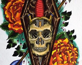 Skull and Dagger Print