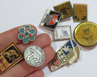 Hockey enamel pin set of 10 Soviet vintage Sports pins Collectibles gift for teen girl Sports decor for boys room Olympics pin Innsbruck pin