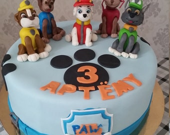 Set of 5 Paw Patrol cake toppers