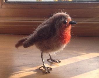 Needle felted Shetland wool robin