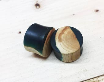 25mm - Maple wood plugs with colourful inlays