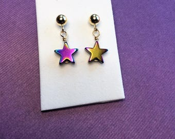 Kids Stars gold earrings- 14K gold filled drop earrings-stars small dangle earrings- girls dangle earrings