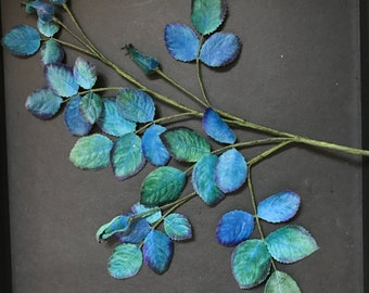 Vintage Shades of Blue & Green Velvet Millinery Roses