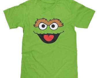 Sesame Street Oscar The Grouch Face Shirt Available in Adult & Youth Sizes