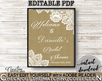 Burlap And Lace Bridal Shower Bridal Shower Welcome Sign Editable in Brown And Tan, photo props, southern shower, party decor - NR0BX