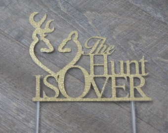 Wedding Cake Topper Browning The Hunt is Over with 6 Inch Clear Stick Ready2Ship