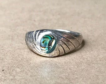 Vintage Sterling Silver and Abalone Shell Ring, Size 7-1/2