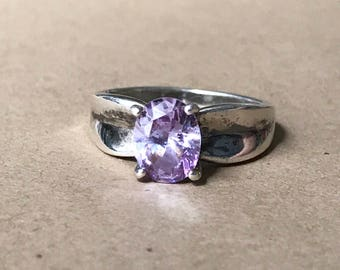 Vintage Sterling Silver and Gemstone Ring, Size 8