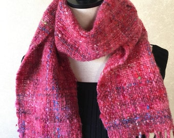 Red scarves hand-spun thread