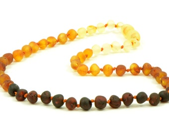 Amber Teething Necklace, Made from Unpolished Baroque Beads,Rainbow color, 28-32 cm length, Knotted for Safety, B063U