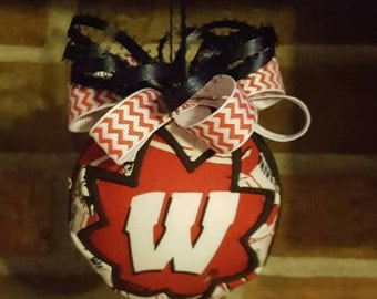 Handmade University of Wisconsin Quilted Ornament